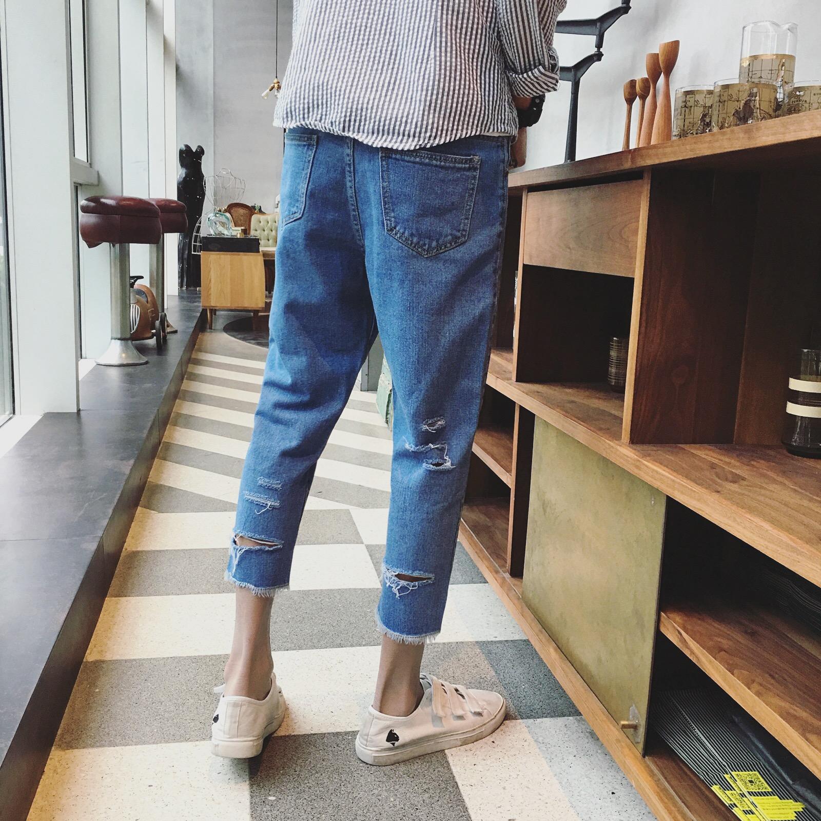 大货2017港仔风新款男士春装大码9分牛仔裤N05-P58(低于75投)