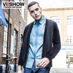 Viishow2015 spring and autumn knitted coat male European knit sweater with contrast color stitching sleeves slim fit sweater coat