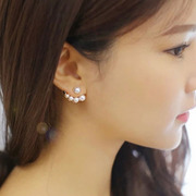 Cool na asymmetric fashion imitation pearls Korean jewelry rhinestones earrings hanging earrings after the actress 2032