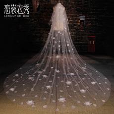 恋裳衣秀新款韩式唯美水滴花朵大拖尾头纱超长款新娘结婚婚纱头纱