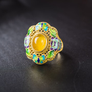 Thai Silver 925 enamel cloisonne vintage ladies gold plated fashion rings natural honey wax ring new