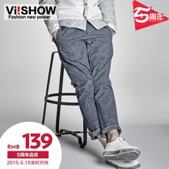Viishow men's Overalls 2015 spring new wave British gentry mosaic leisure slim cotton trousers men