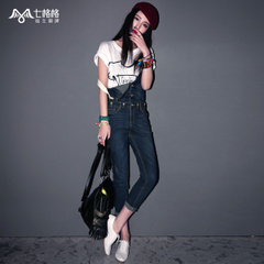 Seven space space OTHERCRAZY2015 new spring two wear suspenders worn wash jeans with bound feet women