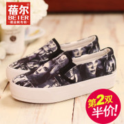 Le Fu, Becky, thick-soled shoes lazy shoe shoes printed canvas shoes women flat shoes platform shoes-fall 2015 new