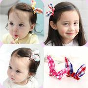 Know Richie new Korean plaid fabric dimensional rabbit ears hair cute children''s hair accessories baby hair beak clip