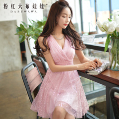 Dress big pink doll slim mesh 2015 summer styles dresses pink v neck dress