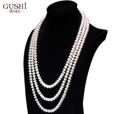 顾氏天然淡水珍珠项链7-8-9mm近圆强光经典多款式毛衣链长款正品