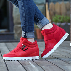Increased within the 2015 winter high women's shoes shoes shoes girl Korean version flows thick Velcro sneakers casual shoes