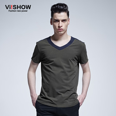 Viishow2015 summer dress new fashion cotton short sleeve t-shirt boom men's v neck short sleeve t-shirt comfort Joker