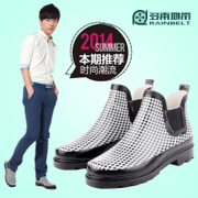 RAINBELT Korean version check light low tube boots men's boots men's water shoes keep warm plus fleece waterproof shoes