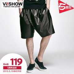 Viishow2015 summer dresses men's street fashion in Europe and America five pants new shorts Black PU leather shorts Capris