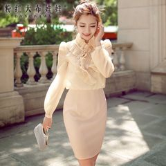 Chiffon dress big pink doll 2015 autumn new slim long sleeve Pearl elegant dress