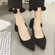 2015 winter Scrubs new Europe and shallow waters thick heel high heels sexy shoes women's shoes toe head boom