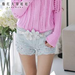 Denim shorts women big pink lace beaded dolls new light blue cut-offs in hot pants