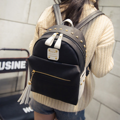 About female beauty for 2015 winter new Korean version of the contrast color shoulder bag rivet bag backpack school bag bag women