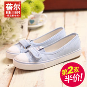 Betty light canvas shoes low cut shoes Lok Fu shoes lazy packages spring/summer shoes flat shoes with Velcro-mail