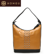 Honggu Valley Red suede cow leather shoulder bag leather handbag color bag retro rivet 0065