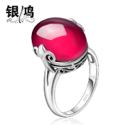 Red corundum Hong 925 Silver jewelry, silver gemstone fashion Korean ladies Thai silver ring wave green agate finger ring