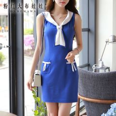 Summer pink dress dolls 2015 new ladies Navy colour matching tide slim sleeveless dress