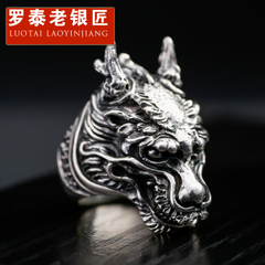 Vintage Thai silver jewelry domineering leader rings s925 silver men rings single index finger ring