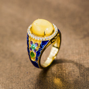 Thai silver cloisonne 925 beeswax gemstone fashion rings women''s gorgeous ring enamel women new