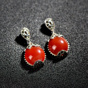 Thai Thai silver jewelry 925 Silver Korea star female Ruby Earrings Onyx earrings ear studs