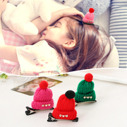 Know Richie tiara hair accessories for children Christmas Hat stereo Barrette Korean Knitting yarn with drilled cute card edge clips
