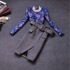Fall/winter 2014 new European fashion retro color slim dresses, ladies temperament slim wool suits