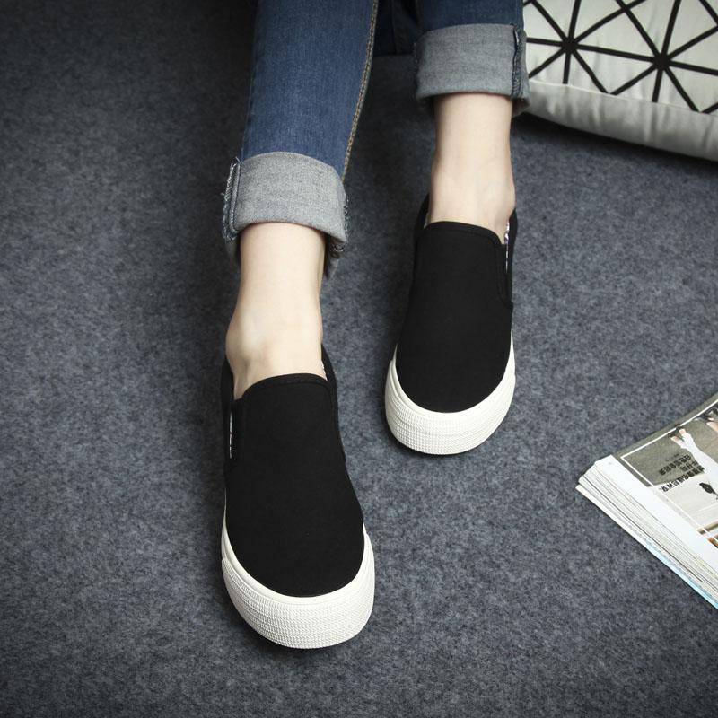 環球內增高單鞋一腳蹬懶人鞋純色厚底松糕底帆布鞋休閑套腳布鞋女