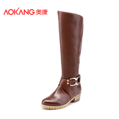 Aokang shoes Western cowhide round thick with side zip comfort warm women boots casual boots for mail