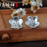 Original white fungus nails female flower Stud Earrings 925 Silver Korea fashion jewelry fresh fungus accessories women