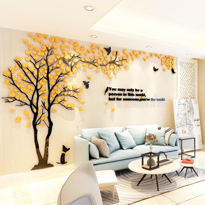 大树3d立体亚克力墙贴画客厅卧室沙发电视背景墙装饰画自粘墙纸贴