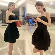 新款宴会晚礼服(小)个子名媛(小)ls10服性感op抹胸气质礼服女