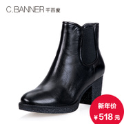 C.BANNER/banner 2015 winter new fashion cowhide thick high heel ankle boots A5690213