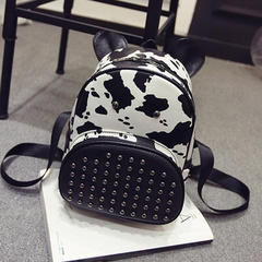 United States around 2015 winter new Korean version of Leopard print fashion trend of rivet backpack print backpack handbag bag