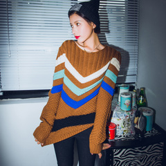 QUEENZZ Europe and the socialite winds fall/winter 2014 new Joker t matching color sweater girl Korean version #