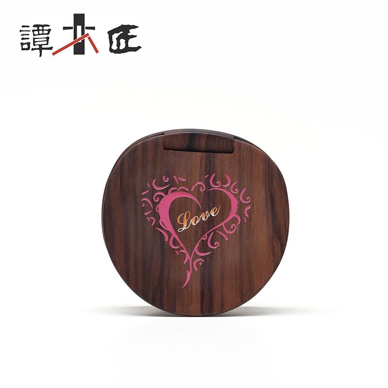 谭木匠 礼盒漆艺镜爱在心中 天然木镜子 随身化妆镜  创意礼物