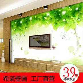 立体墙布大型壁画 3d假砖树叶个性壁纸 电视背景影视墙客厅墙纸图片