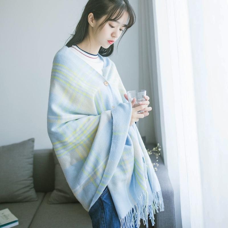 围巾女秋冬季韩版百搭长款围脖纽扣流苏学生时尚格子围巾披肩两用