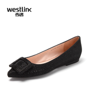 Westlink/West spring 2016 new elegant Silver drill point shallow side buckle flat women's shoes