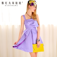 2015 summer dress big pink doll new dress purple bow draping skirt evening dress