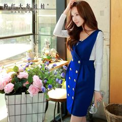 Bag hip dress big pink doll fall 2015 women's new slim straps sleeveless v-neck dresses