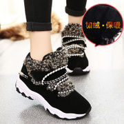 2015 winter season the Korean version of the new casual shoes Velcro sneakers women's shoes running shoes and cotton round head student shoes