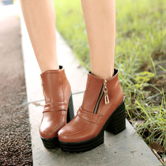 2015 new autumn and winter waterproof boots Europe nude and crude with Martin boots zipper head boots ultra high heel ankle boots