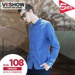 New viishow2015 spring youth men's slim casual men shirt long sleeve denim shirt denim shirt