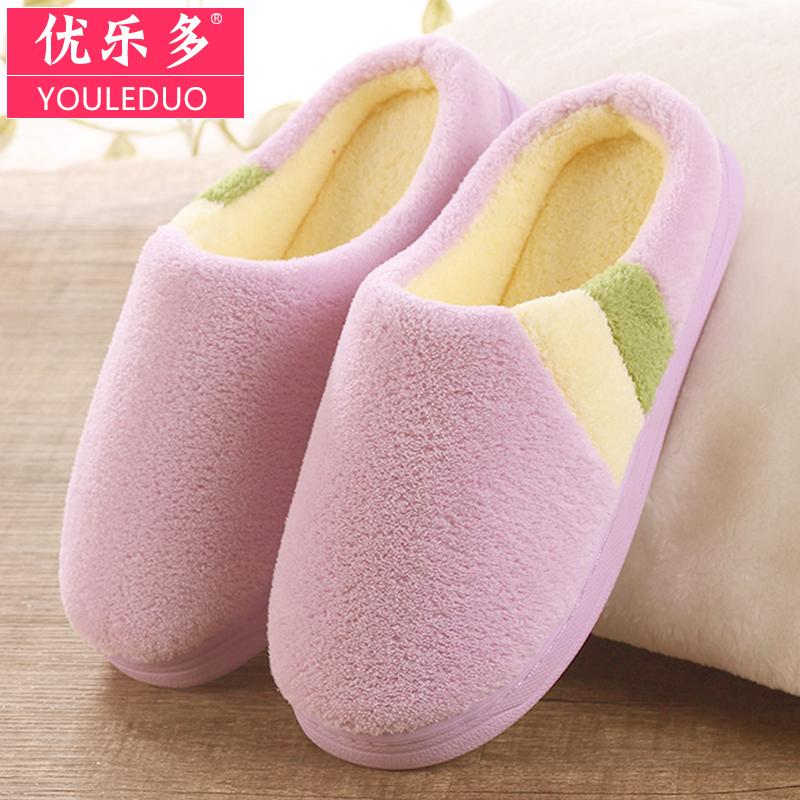2017鼕季 室內男女情侶棉拖鞋保暖家居家用厚底月子絨毛毛拖鞋