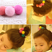 Open ornament Korea 3 fall/winter children''s hair accessories new handmade girls wool ball towel ring baby hair band