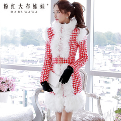 Coat women pink doll winter new style wool coat in red-and-white Plover coat