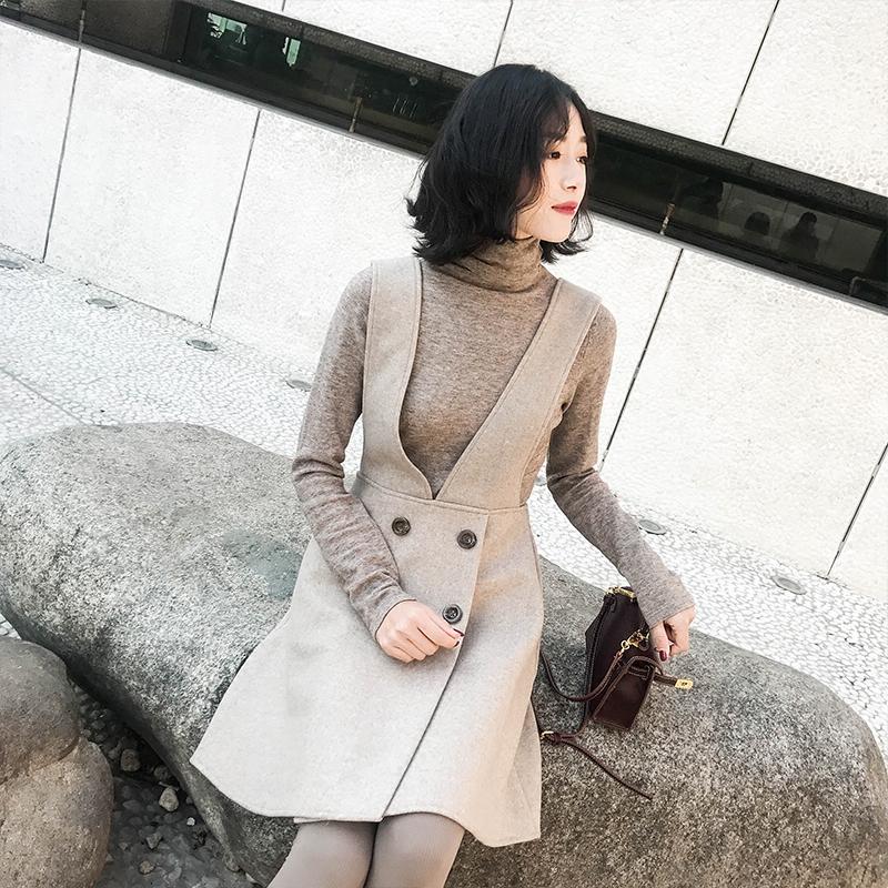 木冉早春装2018新款女装ulzzang背带连衣裙毛呢秋冬