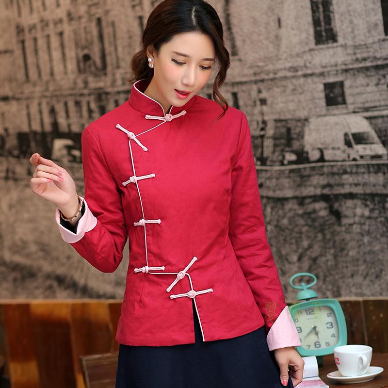 【天天特价】修身女冬装中式民族风手工一字扣长袖夹袄唐装小棉袄
